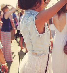 jeans vest, white lace skirt and tattoos