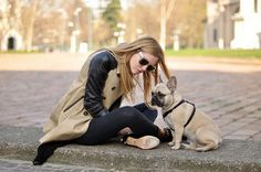 The perfect accessory, a cute French Bulldog and kick ass trench...both must's in my book.