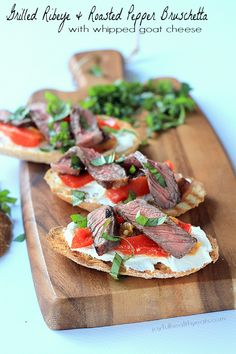 Grilled Ribeye & Roasted Pepper Bruschetta with Whipped Goat Cheese, the ultimate mouth watering appetizer! | www.joyfulhealthyeats.com #tailgating #grillrecipes
