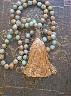 Long boho necklace tassel necklace boho jewelry - Journey - tribal beaded stones knot, aqua khaki sand, rhinestones summer beach jewelry