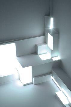 instal art, architectur, white lights, fans, delight design