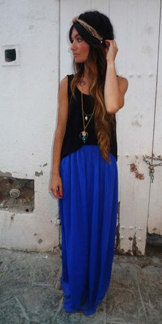 maxi blue skirt black tank loose necklace jewelry