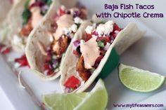 Baja Fish Tacos with Chipotle Cream