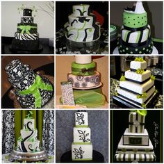 cakes with pops of green - replace black with navy