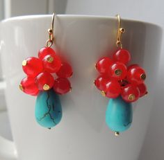 Handmade Earrings with Blue Howlite Turquoise by EcuadorsArt, $95.00