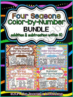 Four Seasons Color by Number Addition/Subtraction Within 10 ! Enter for your chance to win.  Four Seasons Color by Number Bundle ~ Addition & Subtraction Within 10 (32 pages) from The Teaching Treehouse on TeachersNotebook.com (Ends on on 10-4-2014)  Your students will love practicing addition and subtraction facts with these fun seasonal color by number worksheets! Included are 32 color by number printables; addition & subtraction facts within 10. Black and white and UK/Australian ...
