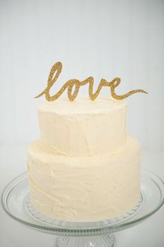 Gold Items I Want : theBERRY wedding cake toppers, scripts, gold glitter, idea, dream, weddings, wedding cakes, marri, parti