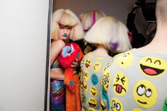 backstage, fashion week, nyfw, fall 2012, audrey kitching, jeremy scott, 90s, rave, happy faces, technicolor hair, crimped hair, blue lips, day-glo