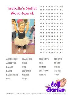 Isabelle�s Printable Ballet Word Search for Girls and Dolls
