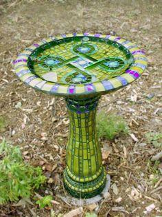 mosaic bird baths, mosaics, mosaic birdbath, stain glass, birds
