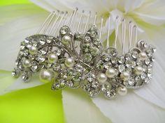 Pearl bridal comb,crystal wedding comb,wedding hair comb pearl,wedding hair accessories,bridal headpieces,rhinestone bridal hair comb. $59.00, via Etsy.