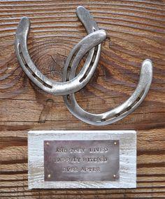 Happily Hitched, personalized wedding gift, ,western wedding gift, cowboy art, cowboy sign,  cowboy decor, horseshoe art, horsehoe sign on Etsy, $49.00