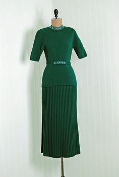 1940's Beaded Metallic Wool-Knit
