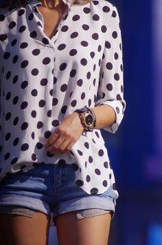 #Polka dots  chiffon blouse #2dayslook #new #chiffonfashion  www.2dayslook.com