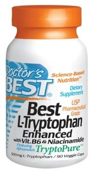Tryptophan supplement, essential amino acid needed to maintain nervous system and production of seratonin. Can help anxiety, depression, headache, and insomnia.