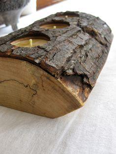 Split Log Candle Holder