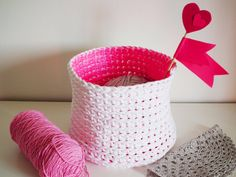 Neon Crochet Basket - Neon Pink Storage Basket Double Sided - Crocheted and Handpainted - Modern Housewares - Gift Ideas