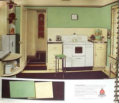 40s kitchen - Love these 2 colors together, then accent w/red