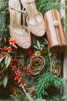 winter wedding accessories, photo by Lauren Fair Photography http://ruffledblog.com/terrain-winter-wedding #wedding #winter #holly