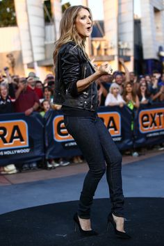 """Back at it again. Celine Dion celebrates her forthcoming album, Loved Me Back To Life %u2014 her first English-language studio album in six years due Nov. 5 %u2014� during an appearance on """"Extra"""" on Sept. 9 in Universal City, Calif.�"""