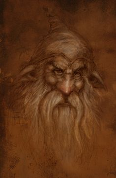Aule first made the Dwarves, longing for the coming of Elves and Men, and desiring those to whom he could teach his crafts. But the Dwarves have no spirit indwelling, as have The Children of Illuvatar, and this the Valar cannot give. Therefore the Dwarves have skill and craft, but no art, and they make no poetry. Aule devised a speech for them afresh, and it has no kinship with others, and they have made this harsh in use. The Aulian tongue. Gnomes Drawing, The Artists, Art Inspiration, Extraordinary Art, Jeanbaptist Monge, Fantasy Dragons Art, Fantasy Wonder, Fantasy Character, Aaron Pocock