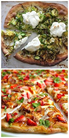 Pizza Night! - Tomorrow night, which pizza should I make? Potato, Brussel Sprouts and Goat Cheese Pizza OR Strawberry Balsamic Pizza with Chicken, Sweet Onion and Applewood Bacon?