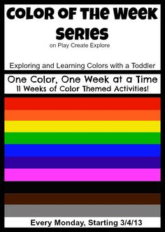 Color of the Week Series on Play Create Explore- Exploring and Learning Colors with a Toddler and Preschooler. One Color/One week at a time. Tons of color themed activities and sensory bins!