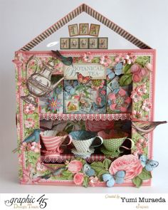 Yumi made this truly amazing tea house using Botanical Tea! There's tea organizers, paper cups, and more in this great project! #graphic45 #alteredart