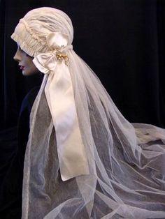 20s Wedding Veil with Wax flowers - breath taking.