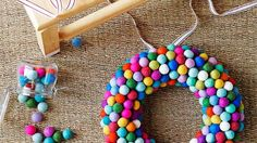 Colorful felt ball wreath!