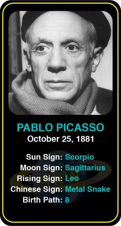 Celeb #Scorpio birthdays: Pablo Picasso's astrology info! Sign up here to see more: https://www.astroconnects.com/galleries/celeb-birthday-gallery/scorpio #astrology #horoscope #zodiac #birthchart #natalchart #pablopicasso