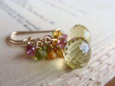 Gemstone Earrings Lemon Quartz Earrings Drop by beachjewels72