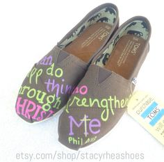 Philippians+413+Bible+TOMS+I+can+do+all+things+by+StacyRheaShoes,+$115.00