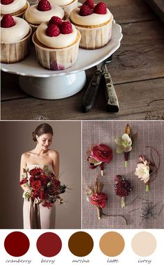 shades of cranberry, latte + ivory.