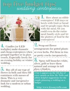 Top Five Budget Tips for the Wedding Centerpieces