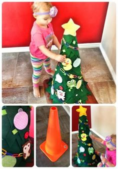 Home Decor Ideas: Toddler Christmas tree - This would be cute in Dramatic Play during the Christmas season.