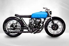 Honda CB(500?) custom with blue tank, low profile seat and firestones