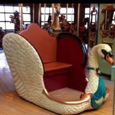 Beautiful swan chariot at Bear Mountain carousel in NY.