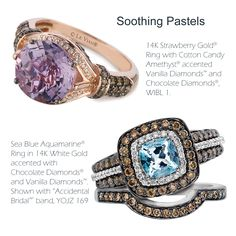 Pastel gems continue to standout in 2013 including feminine lilac/pink Cotton Candy Amethyst® and soothing Sea Blue Aquamarine® in fashion and bridal.