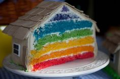 Wizard of Oz party cake - love the rainbow inside!