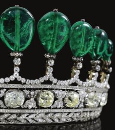 Magnificent and rare emerald and diamond tiara. This incredibly beautiful, impossibly stunning emerald and diamond tiara was previously owned by a bona fide princess, Princess Katharina Henckel Von Donnersmarck.