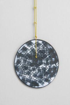Susan Cross - Pendant neckpiece-   steel, enamel, korean braid.The Scottish Gallery, Edinburgh