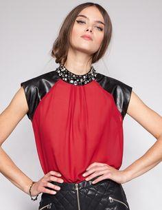 Crimson jeweled top