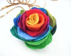 Rainbow felt rose on ETSY
