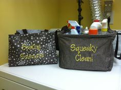 "Laundry room fun!! All-in-One Organizer ""Seeking Solemate"" for those socks without a mate... and a Square Utility Tote ""Squeaky Clean"" for all of your cleaning supplies! Love!!!"