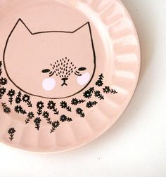 hand painted plate cat by prettylittlethieves on Etsy