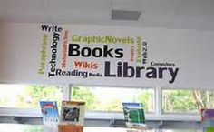 High School Library Decorating Ideas - Bing Images Use Quotes or Word Clouds- With Author Names, etc.