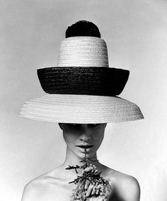 Model wearing beach hat by Galitzine, photo by Karen Radkai, 1960s