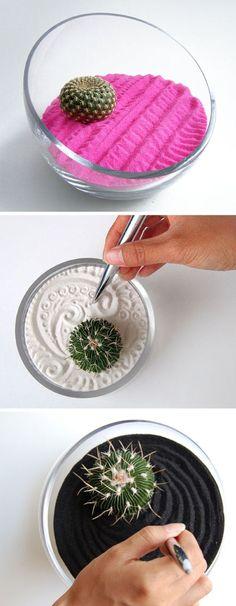 decor, plant, craft, garden ideas, sand art, cacti, zen gardens, stress management, diy