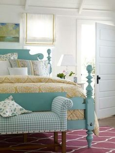 i like white walls and trim.  squared molding around door.    tourquoise!